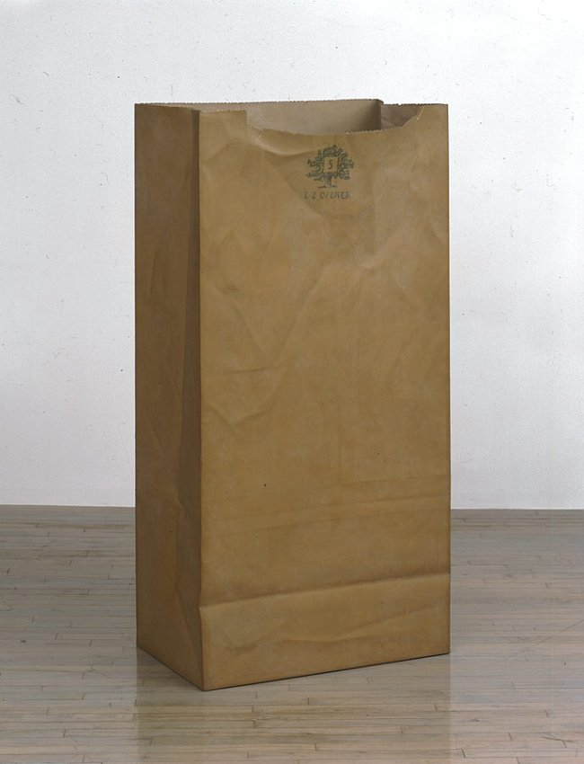 ALEX HAY<br /><i>Paper Bag</i><br />1968<br />fiberglass, epoxy, spray lacquer and stencil on paper<br />59 3/8 x 29 1/4 x 18 inches (150.8 x 74.3 x 45.7 cm)<br />