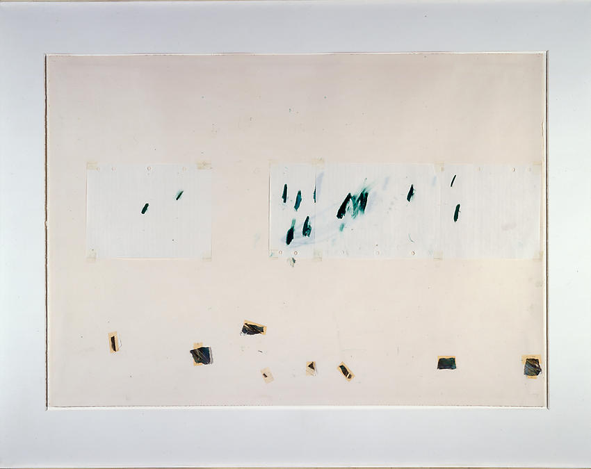 CY TWOMBLY     (1928 - 2011)<br /><i>Untitled</i> (Captiva Island, Florida)<br />1974<br />small pieces of torn drawing paper with grease pencil and strips of transparent tape collaged on paper<br />29.5 x 41.7 inches (75 x 106 cm)<br />