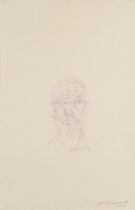 ALBERTO GIACOMETTI  (1901-1966)<br /><i>Portrait de Louis Chavignier</i><br />c. 1963<br />ballpoint pen on paper<br />19 7/8 x 12 7/8 inches (50.4 x 32.7 cm)<br />