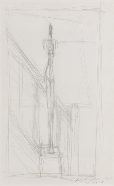 Alberto Giacometti<br />Homme debout sur une stele<br />1948<br />graphite on paper<br />19 x 12 inches (48.3 x 30.5 cm)<br />Private Collection<br />