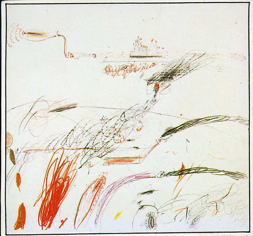 CY TWOMBLY     (1928 - 2011) <br /><i>Untitled</i> (Delian Ode)<br />1960/61<br />pencil, ballpoint pen and grease crayon on paper<br />13 1/8 x 13 7/8 inches (33.3 x 35.3 cm)<br />