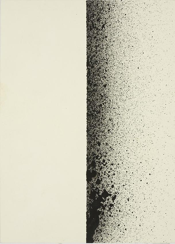 Charlotte Posenenske<br />Spritzbild (Sprayed Picture), 1964/1965<br />spray pigment on paper<br />7 1/8 x 5 1/8 inches<br />