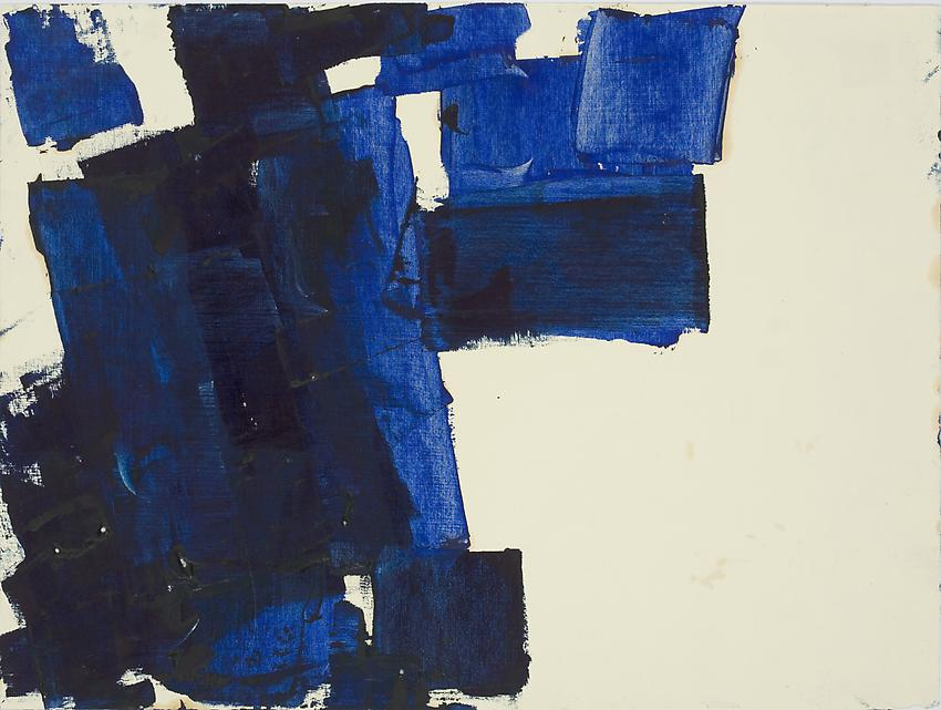 Charlotte Posenenske<br />Untitled, 1960/ 1961<br />acrylic on paper<br />11 3/4 x 15 3/4 inches<br />