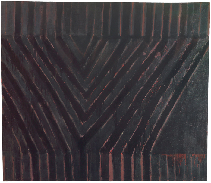 FRANK STELLA<br /><i>Delta</i><br />1958<br />enamel on canvas<br />85 1/2 x 97 inches (217.2 x 246.4 cm)<br />