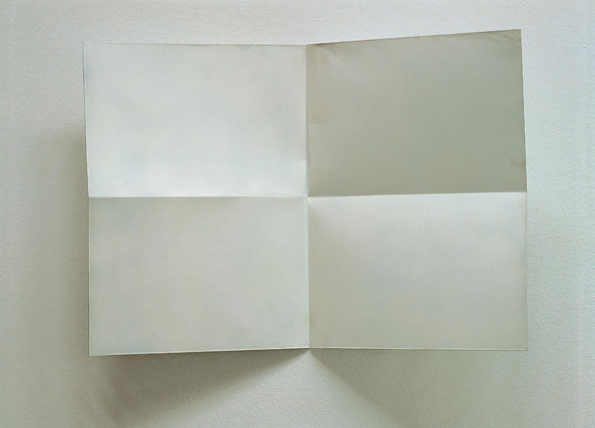 Charlotte Posenenske<br />Faltung (Fold), 1966<br />white spray paint on folded sheet aluminum<br />20 1/8 x 28 3/8 x 5 1/2 inches<br />