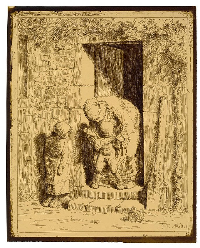 Jean-François Millet<br />La Précaution maternelle<br />1862<br />interposed glass salt print<br />12 x 9 5/8 inches<br />30.4 x 24.5 cm<br />