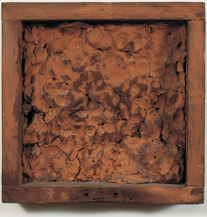 ROBERT RAUSCHENBERG<br />Pink Clay Painting (To Pete)<br />1953<br />clay in wood frame<br />8-3/4 x 8-3/4 x 2 inches (22.22 x 22.22 x 5.08 cm)<br />