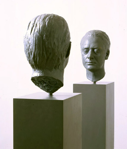 GERHARD RICHTER<br /><i>Zwei Skulpturen fuer einen Raum von Palermo</i> [Two Sculptures for a Room by Palermo]<br />1971<br />two sculptures, each: oil on plaster, mounted on a painted wooden base<br />each: 13 3/8 inches; 34 cm<br />overall: 68 5/8 x 7 7/8 x 10 inches (174.3 x 20 x 25.6 cm)<br />