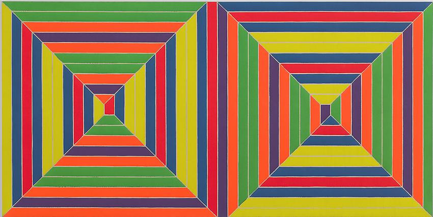 FRANK STELLA<br /><i>Double Mitered Maze</i><br />1967<br />alkyd on canvas<br />62 1/2 x 125 inches (158.8 x 317.5 cm)<br />