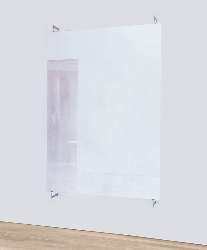 GERHARD RICHTER<br />	Glasscheibe (876-11)<br />	2002<br />	antelio glass with metal brackets<br />	82-11/16 x 59-1/16 inches (210 x 150 cm)<br />