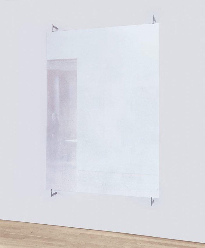 GERHARD RICHTER<br />Glasscheibe (876-11)<br />2002<br />antelio glass with metal brackets<br />82-11/16 x 59-1/16 inches (210 x 150 cm)<br />