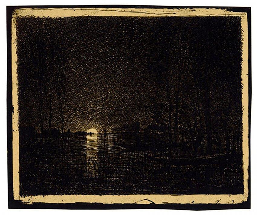 Charles-François Daubigny<br />Effet de nuit<br />1858/62<br />salt print<br />6 3/4 x 8 inches<br />17.1 x 20.4 cm<br />