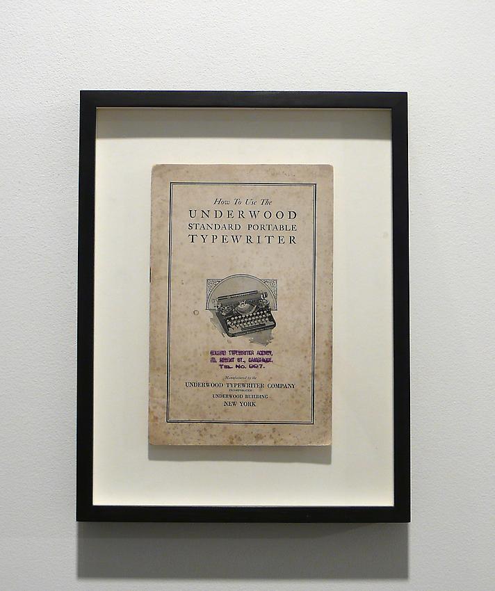 Richard Wentworth<br />Mon cher monsieur<br />2010<br />found typewriter manual, frame<br />13 5/8 x 10 1/2 x 1 1/2 inches<br />  (34.5 x 26.5 x 3.9 cm)<br />