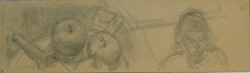 ALBERTO GIACOMETTI  (1901-1966)<br /><i>Assiette de pommes et buste de femme</i><br />c. 1952<br />graphite on card<br />3 1/8 x 11 1/4 inches (8 x 28.5 cm)<br />