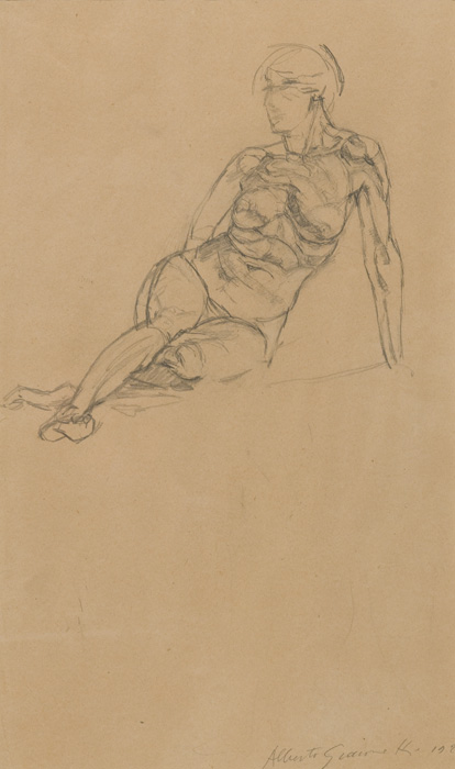 ALBERTO GIACOMETTI  (1901-1966)<br /><i>Nu couché</i><br />1922-23<br />graphite on paper<br />19 7/8 x 13 inches (50.5 x 33 cm)<br />Private Collection<br />