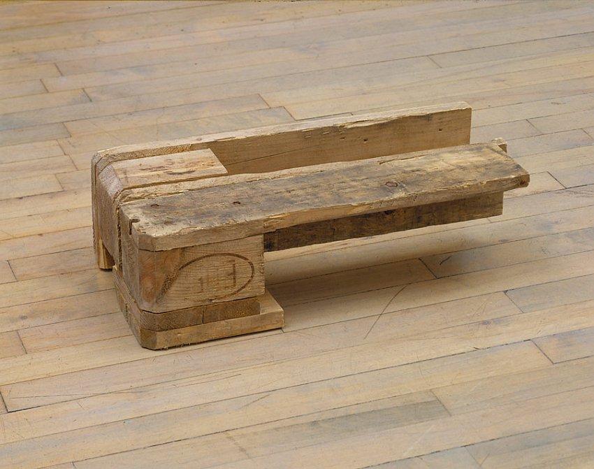 Helen Mirra<br />Transylvania<br />2006<br />pallet wood<br />5 7/8 x 20 1/4 x 9 7/8 inches<br /> (15 x 51 x 25 cm)<br />