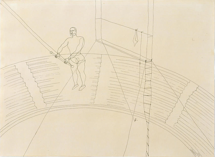 ALEXANDER CALDER    (1898-1976)<br />Untitled (Man on Trapeze) [Circus Drawing]<br />1932<br />ink on paper<br />21 3/4 x 29 3/4 inches<br />  (55.25 x 75.57 cm)<br />