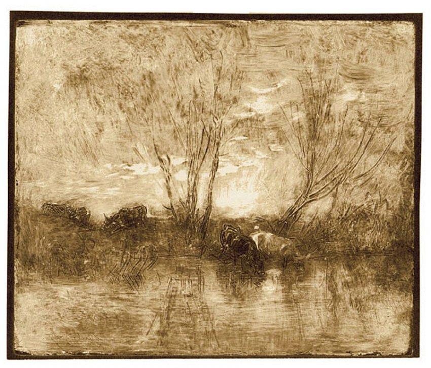 Charles-François Daubigny<br />Vâches à l'abreuvoir<br />1858/62<br />salt print<br />6 7/8 x 8 7/8 inches<br />17.5 x 22.4 cm<br />