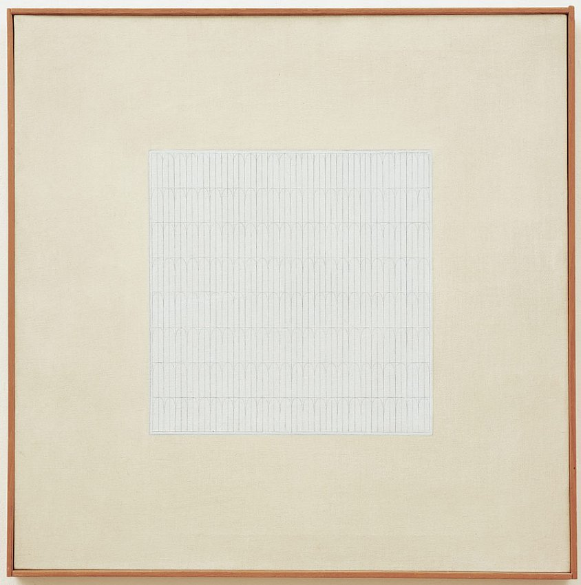 AGNES MARTIN<br />	Song<br />	1962<br />	graphite and oil on canvas<br />	23-3/4 x 23-3/4 inches (60.32 x 60.32 cm)<br />
