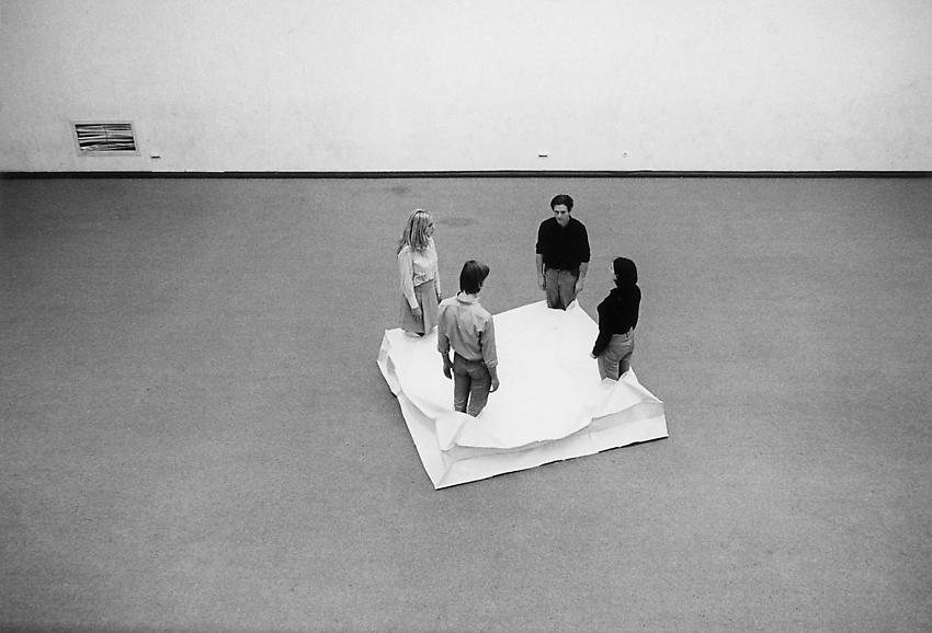 FRANZ ERHARD WALTHER<br /><i>Plinth, Four Areas</i><br />1969<br />cotton<br />88 1/4 x 88 1/4 x 15 inches (224 x 224 x 38 cm)<br />