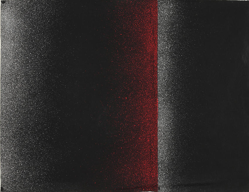 CHARLOTTE POSENENSKE<br /><i>Spritzbild</i> (Sprayed Picture)<br />1964<br />spray pigment on paper<br />19 x 24 5/8 inches (48.2 x 62.5 cm)<br />