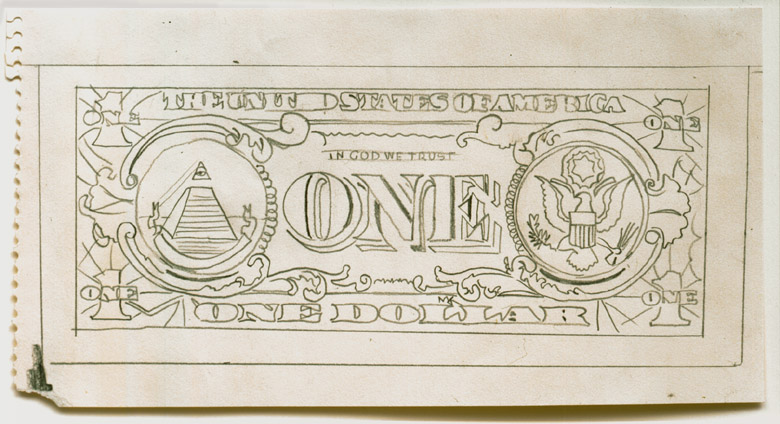 Andy Warhol<br />Dollar Bill<br />1964<br />graphite on paper<br />5 3/8 x 10 1/4 inches (13.65 x 26 cm)<br />