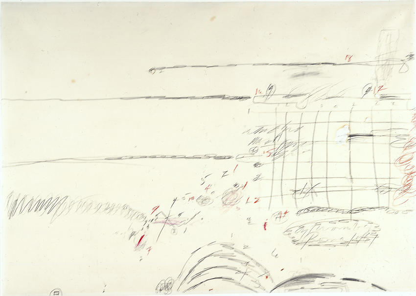 CY TWOMBLY     (1928 - 2011)  <br /><i>Untitled</i><br />1961<br />pencil, crayon  and paint on paper<br />27 9/16 x 39 3/8 inches (70 x 100 cm)<br />