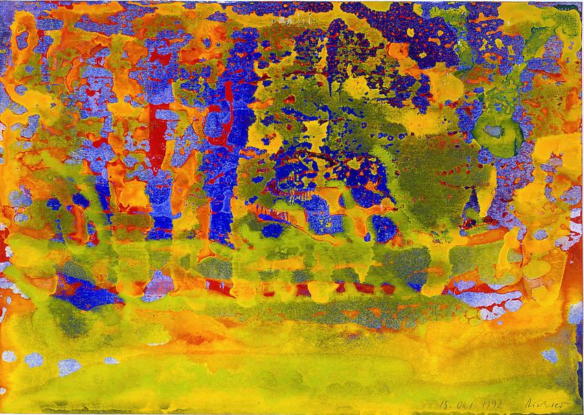 GERHARD RICHTER<br /><i>15 Okt.1992</i><br />1992<br />watercolor on paper<br />9 3/8 x 13 5/16 inches (24 x 34 cm)<br />