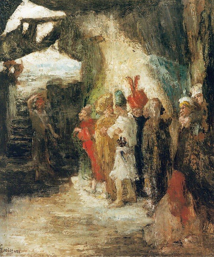 Judas lançant l'argent dans le temple (Judas Flinging Pieces of Silver into the Temple)<br />1880 <br />oil on canvas<br />67.5 x 58 cm<br />
