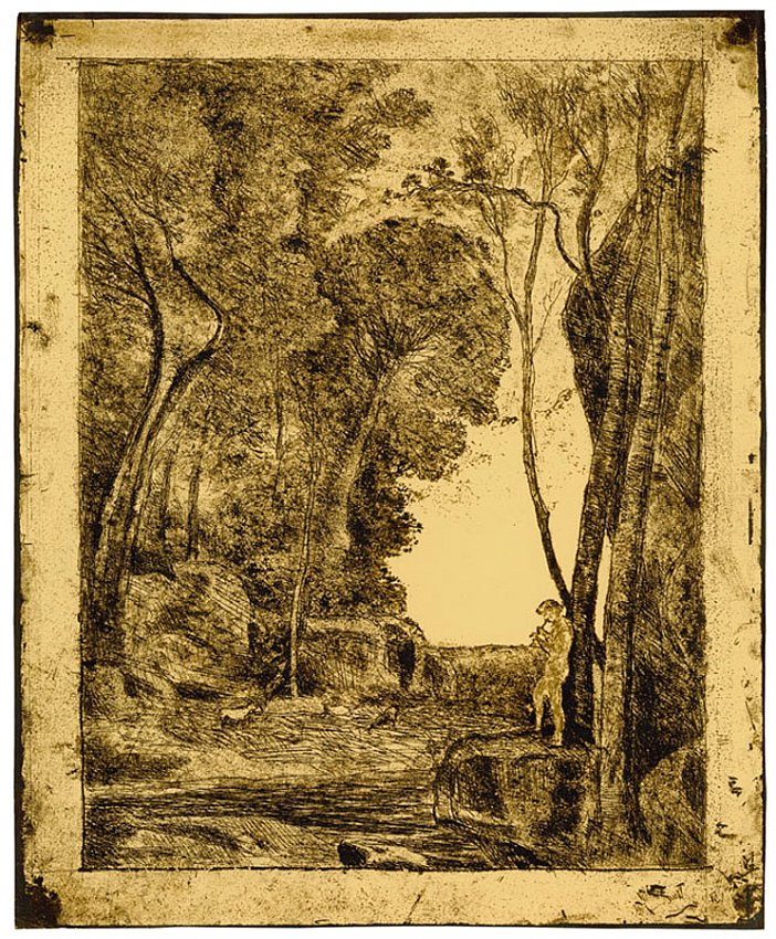 Jean-Baptiste-Camille Corot<br />Le Petit Berger (first plate)<br />1855<br />salt print<br />14 3/8 x 11 3/4 inches<br />36.5 x 29.7 cm<br />