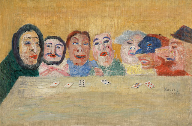 JAMES ENSOR  (1860 - 1949)<br /><i>Masques regardant un jeu des cartes</i> (Masks Looking at Playing Cards) <br />1896<br />oil on canvas<br />10 3/5 x 16 inches (27 x 41 cm)<br />