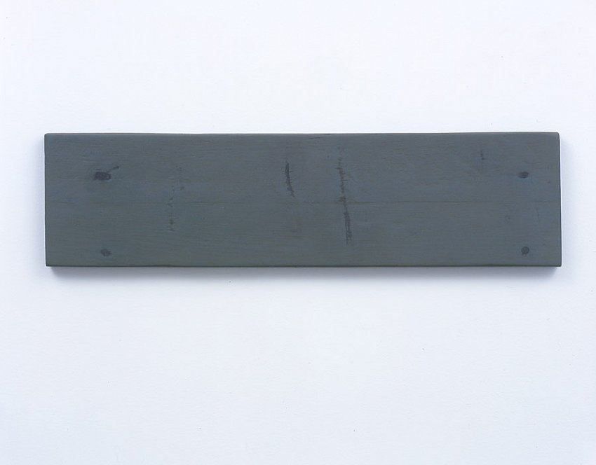 Helen Mirra<br />Disappear third<br />2003<br />milk paint and putty on wood	<br />5 ½ x 21 x 5/8 inches<br />(14 x 53.3 x 1.6 cm)<br />
