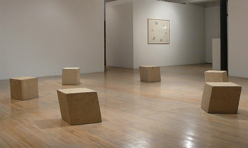 BRUCE NAUMAN<br />Diamond Mind (Diamond Mind Circle of Tears Fallen All Around Me)<br />1975<br />six sandstone rhombohedrons<br />each: 15 x 15 x 15 inches<br />(38 x 38 x 38 cm)<br />