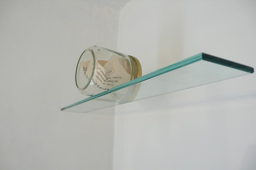 <u>Trophy</u><br />2010<br />glass jar, printed textbook title page, glass shelf<br />4 x 19 1/4 x 3 1/2 inches (10.2 x 49 x 9 cm)<br />
