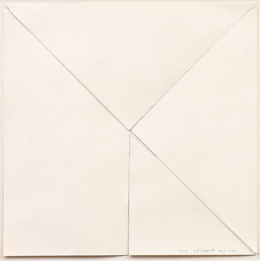 SOL LEWITT<br />	R115<br />	1973<br />	torn paper with traces of graphite<br />	12 x 12 inches (30.48 x 30.48 cm)<br />
