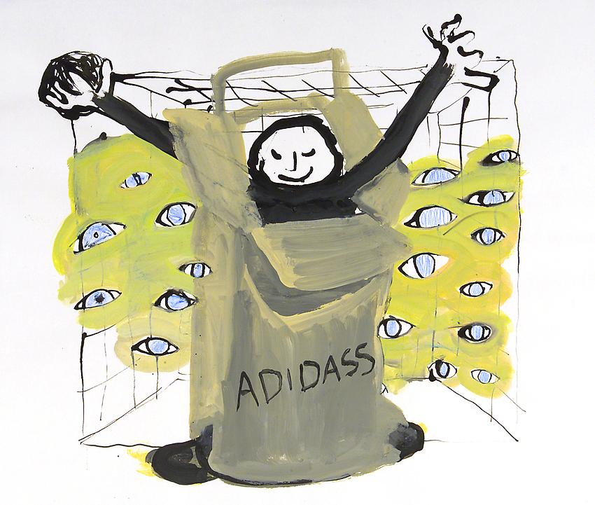 <u>Marque Adidas</u><br />2002<br />Indian ink, gouache and color pencil on paper<br />12 11/16 x 15 inches (32.2 x 38.1 cm)<br />
