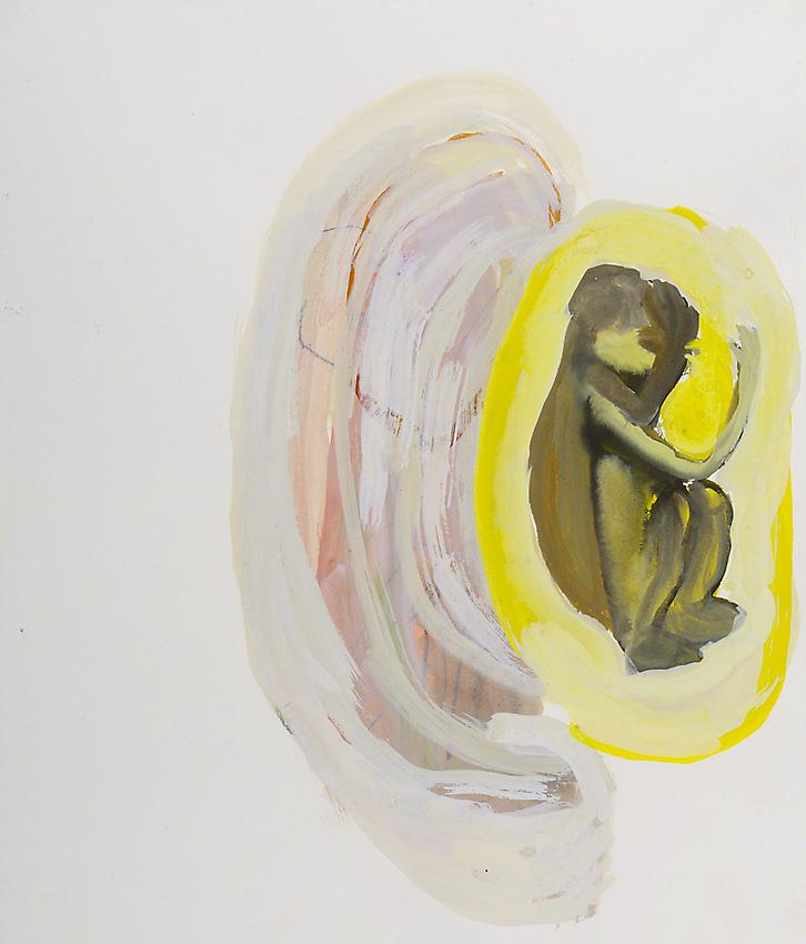 ANNE-MARIE SCHNEIDER<br /><i>Untitled</i> (foetus/singe)<br />2002<br />Indian ink and watercolor on paper<br />15 x 12.79 inches (38.1 x 32.5 cm)<br />