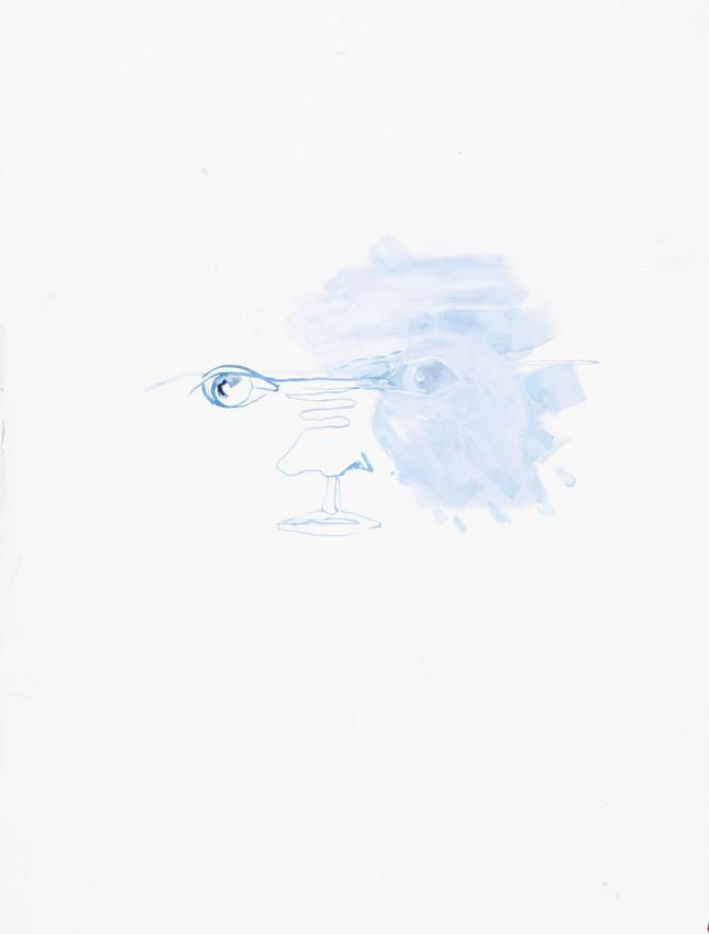 ANNE-MARIE SCHNEIDER<br /><i>untitled</i> (portrait bleu)<br />2012<br />acrylic and watercolor on paper<br />16 1/8 x 12 1/4 inches (41 x 31 cm)<br />