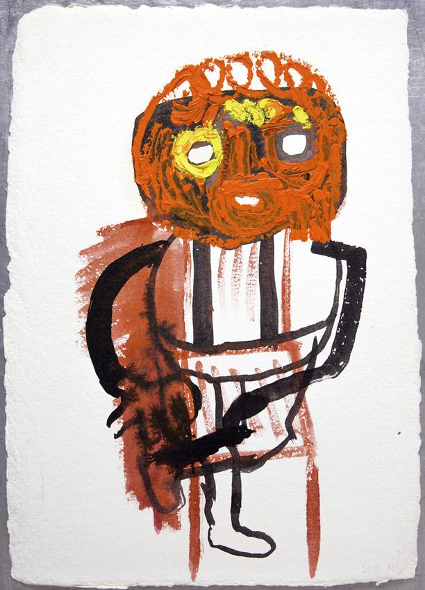 <u>Untitled</u> (Le père)<br />2010<br />oil and watercolor on watercolor paper torchon<br />17 1/2 x 12 7/16 inches (44.5 x 31.5 cm )<br />framed: 24 5/8 x 20 11/16 inches (62.5 x 52.5 cm)<br />