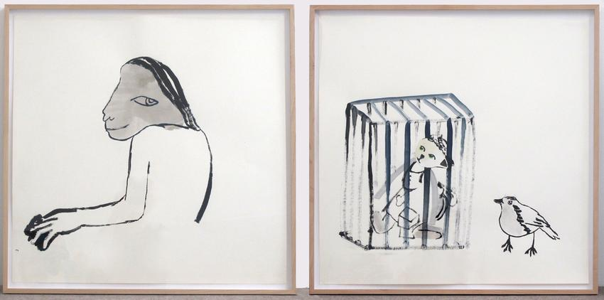 ANNE-MARIE SCHNEIDER<br />Sans titre<br />2007<br />ink and watercolor on paper, diptych<br />each: 25 9/16 x 39 3/8 inches<br />  (65 x 100 cm)<br />