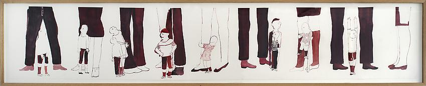 ANNE-MARIE SCHNEIDER<br /><i>Untitled</i><br />2010<br />watercolor and Indian ink on paper<br />20.87 x 103.54 inches (53 x 262.8 cm)<br />