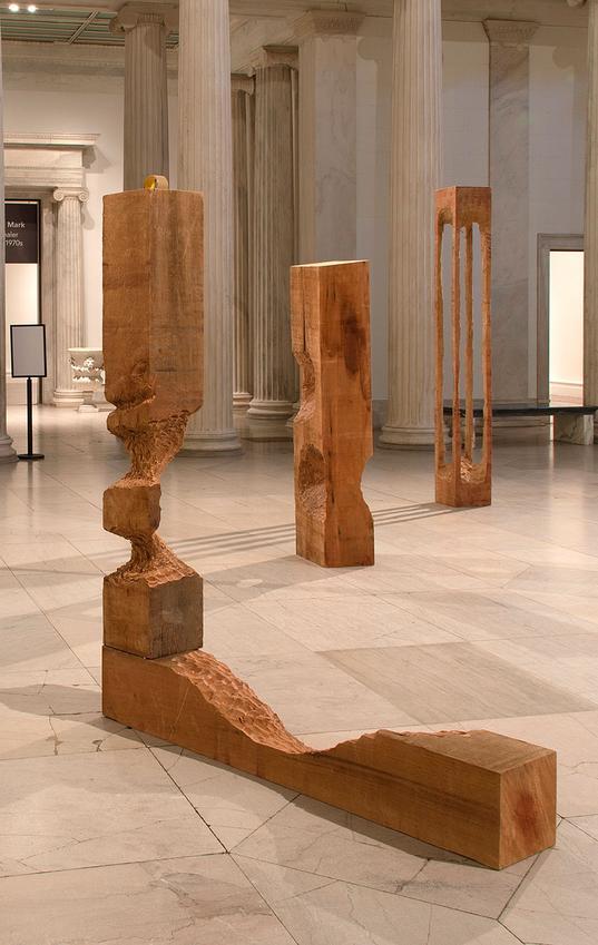 <u>Untitled</u><br />2012<br />cedar wood, tape roll<br />78 3/4 x 64 3/16 x 10 1/4 inches (200 x 163 x 26 cm)<br />