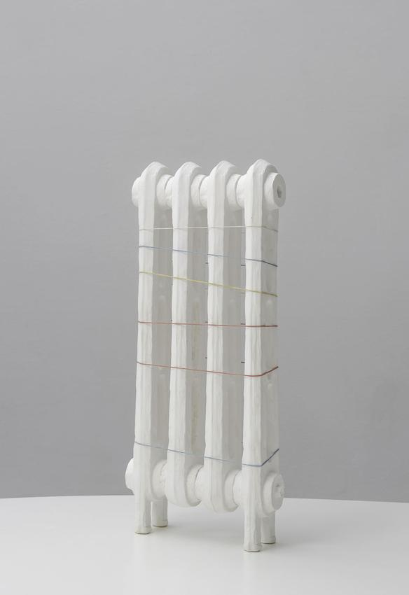 DAVID ADAMO<br /><i>Untitled</i><br />2012<br />Zellan and colored rubber bands<br />15 1/2 x 7 1/8 x 2 1/8 inches (39.5 x 18 x 5.5 cm)<br />