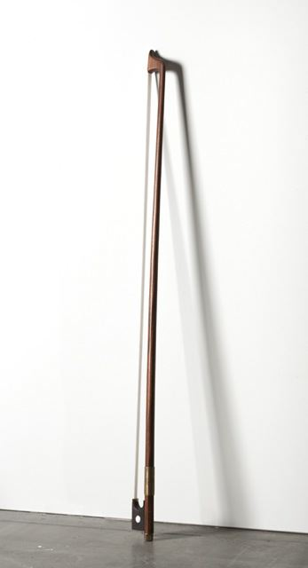DAVID ADAMO<br /><i>Untitled</i><br />2012<br />wood, brass, and fishing line<br />57 7/8 x 3 1/8 x 1 inches (147 x 8 x 2.5 cm)<br />
