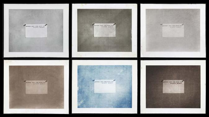 MEL BOCHNER<br /><i>Photography Before the Age of Mechanical Reproduction</i><br />2011<br />6 photographic prints: 1 each gelatin,<br />platinotype, collodio-chloride, albumen,<br />cyanotype, and salt<br />each: 20 x 24 inches (50.8 x 61 cm) <br />PF2171<br />