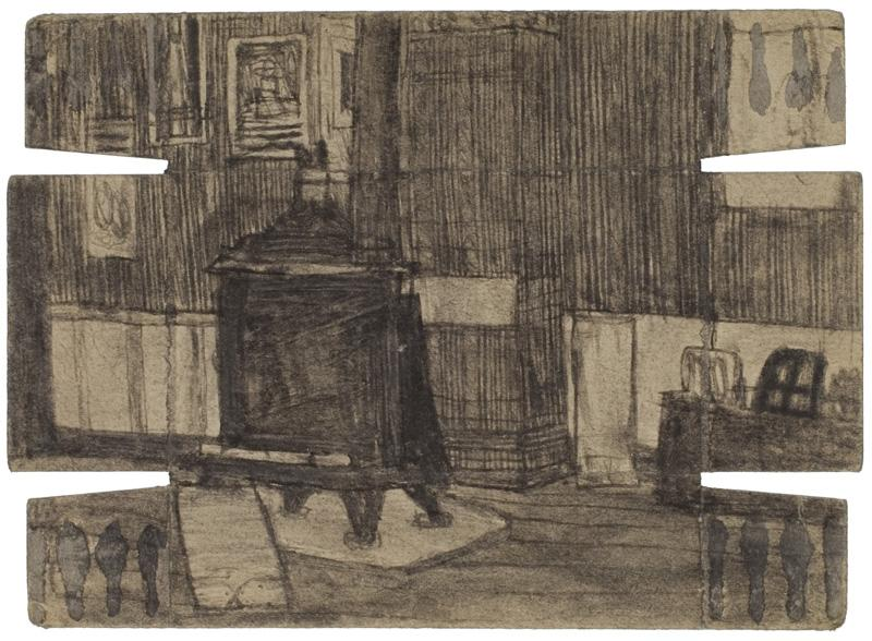 JAMES CASTLE (1899-1977)<br /><i>Untitled</i><br />n.d.<br />found paper, soot<br />5 x 7 1/4 inches (12.7 x 18.4 cm)<br />