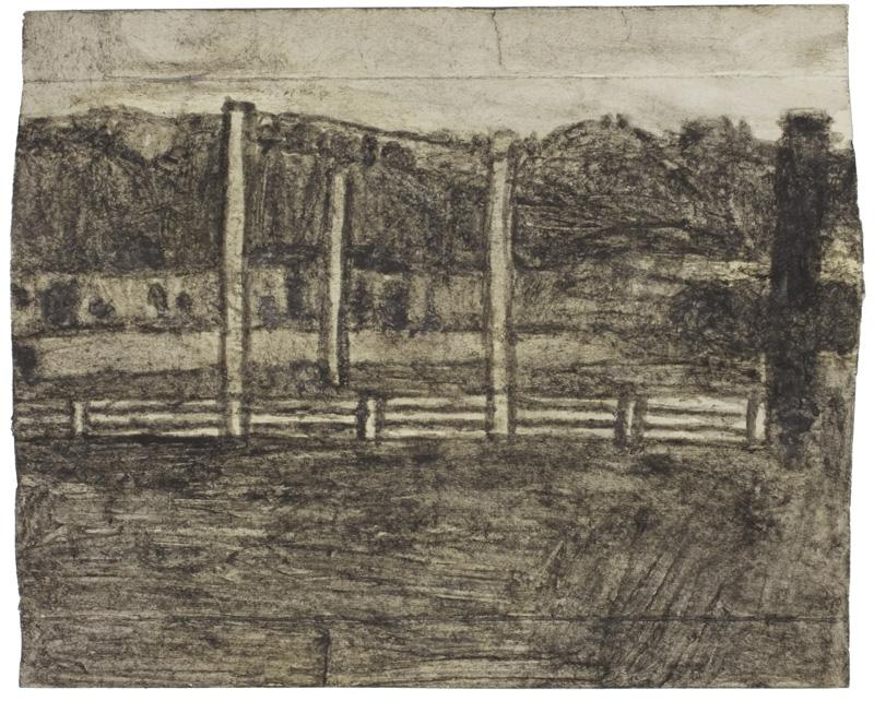 JAMES CASTLE (1899-1977)<br /><i>Untitled</i><br />n.d.<br />found paper, soot<br />5 7/8 x 7 3/8 inches (14.9 x 18.7 cm)<br />