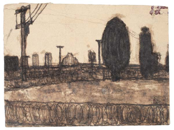 JAMES CASTLE (1899-1977)<br /><i>Untitled</i><br />n.d.<br />found paper, soot<br />3 3/4 x 4 7/8 inches (9.5 x 12.3 cm)<br />