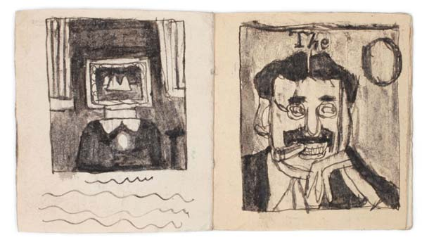James Castle (1899-1977)<br />Untitled<br />n.d.<br />found paper, soot; 32 pps<br />3 1/2 x 3 1/8 inches (8.9 x 7.9 cm)<br />