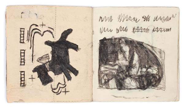 JAMES CASTLE (1899-1977)<br /><i>Untitled</i><br />n.d.<br />found paper, soot; 32 pps<br />3 1/2 x 3 1/8 inches (8.9 x 7.9 cm)<br />